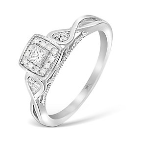 9ct White Gold Princessa Diamond Cluster Crossover Ring - Product number 4994027