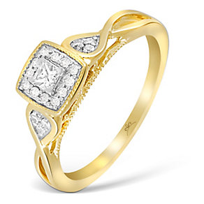 9ct Yellow Gold Princessa Diamond Cluster Crossover Ring - Product number 4994159