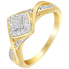 9ct Yellow Gold Princessa Diamond Cluster Twist Ring - Product number 4994280