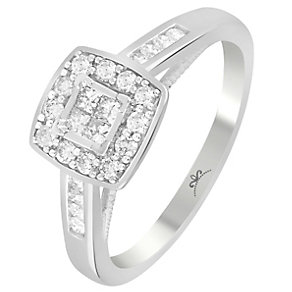 9ct White Gold 1/3 Carat Diamond Square Cluster Ring - Product number 4994426