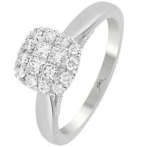9ct White Gold 1/2 Carat Diamond Square Cluster Ring - Product number 4994558