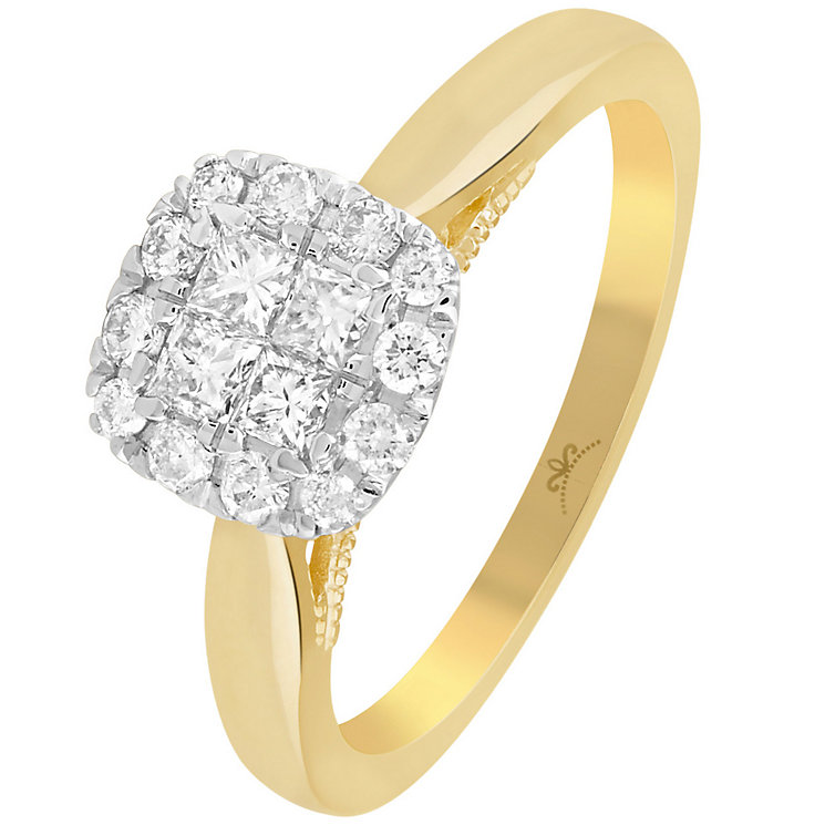 9ct Gold 1/2 Carat Diamond Square Cluster Ring - Product number 4994671