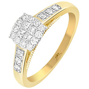 9ct Gold 1/3 Carat Diamond Square Cluster Ring - Product number 4994817