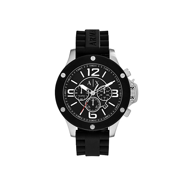 Armani Exchange Men's Black Silicone Strap Watch - Product number 4995279