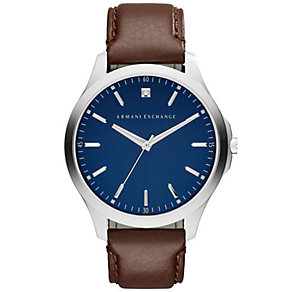 Armani Exchange Men's Blue Dial Brown Leather Strap Watch - Product number 4995295