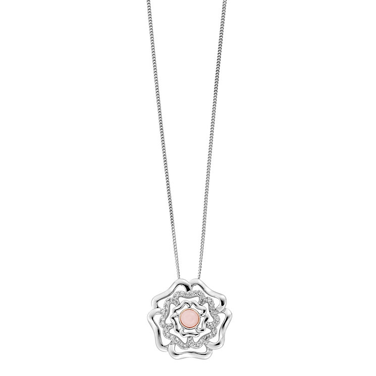 Clogau Silver 9ct Rose Gold Tudor Rose Pendant - Product number 4996348