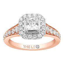 Leo Diamond 18ct Rose Gold 1.10ct I I1 Diamond Halo Ring - Product number 4996704