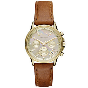 Armani Exchange Ladies' Stone Set Brown Leather Strap Watch - Product number 4997395