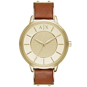 Armani Exchange Ladies' Gold Dial Brown Leather Strap Watch - Product number 4997409