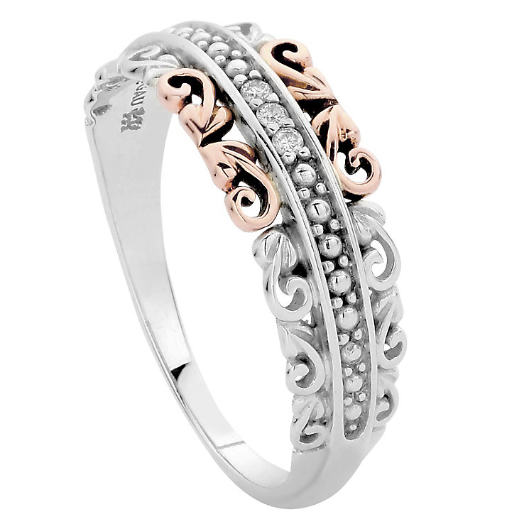 Clogau Silver 9ct rose Gold Diamond Ring Size N - Product number 4997573