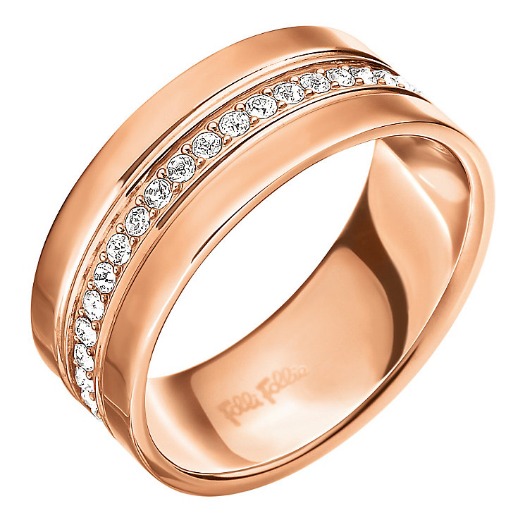 Folli Follie Rose Gold Plated Ring Size Large - Product number 5000629