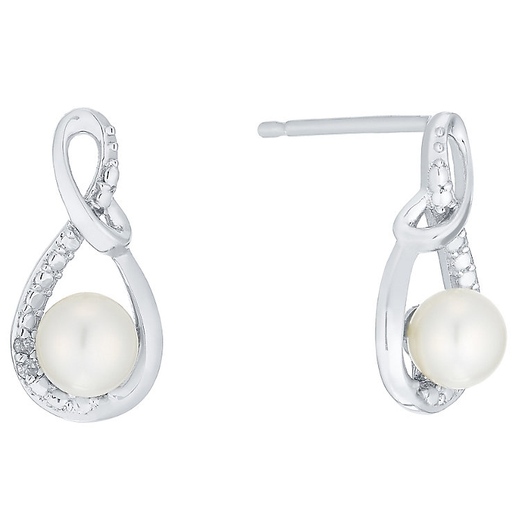 9ct White Gold Cultured Freshwater Pearl & Diamond Studs - Product number 5001161