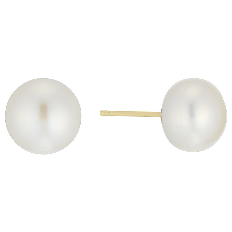 9ct Gold 9mm Cultured Freshwater Pearl Stud Earrings - Product number 5001218