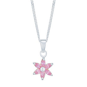 Children's Silver & Cubic Zirconia Pink Flower Pendnat - Product number 5009731
