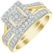 9ct Gold 2/3 Carat Princess Cut Diamond Bridal Ring Set - Product number 5021626