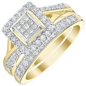 9ct Gold 2/3 Carat Princess Cut Diamond Bridal Ring Set - Product number 5021626