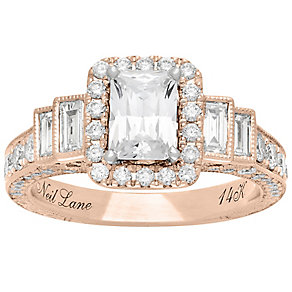 Neil Lane 14ct Rose Gold 2.09ct Diamond Halo Ring - Product number 5024153