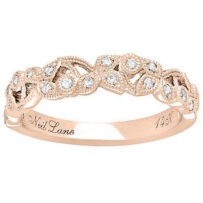 Neil Lane 14ct Rose Gold 0.21ct Diamond Vine Wedding Ring - Product number 5025591