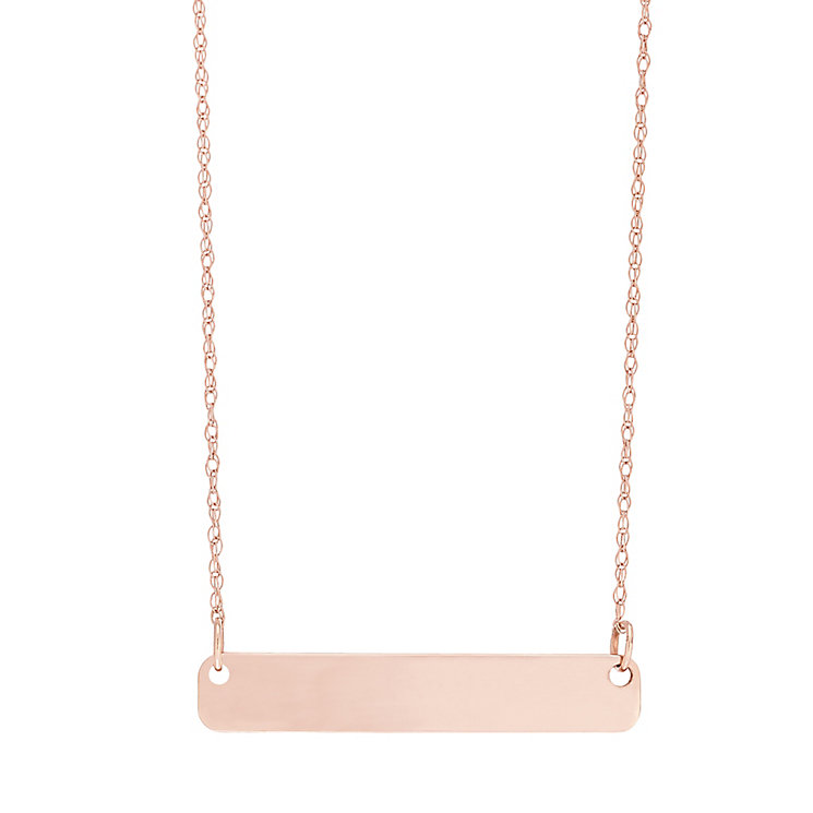 "9ct Rose Gold Plain Bar Necklace With 18"" Chain - Product number 5029562"