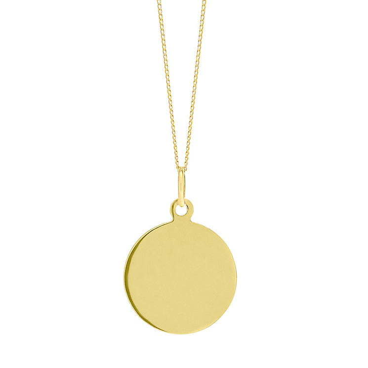 "9ct Gold Plain Disc Pendant With 18"" Chain - Product number 5029619"