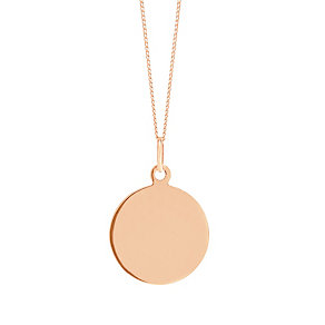 """9ct Rose Gold Plain Disc Pendant With 18"""" Chain - Product number 5029627"""