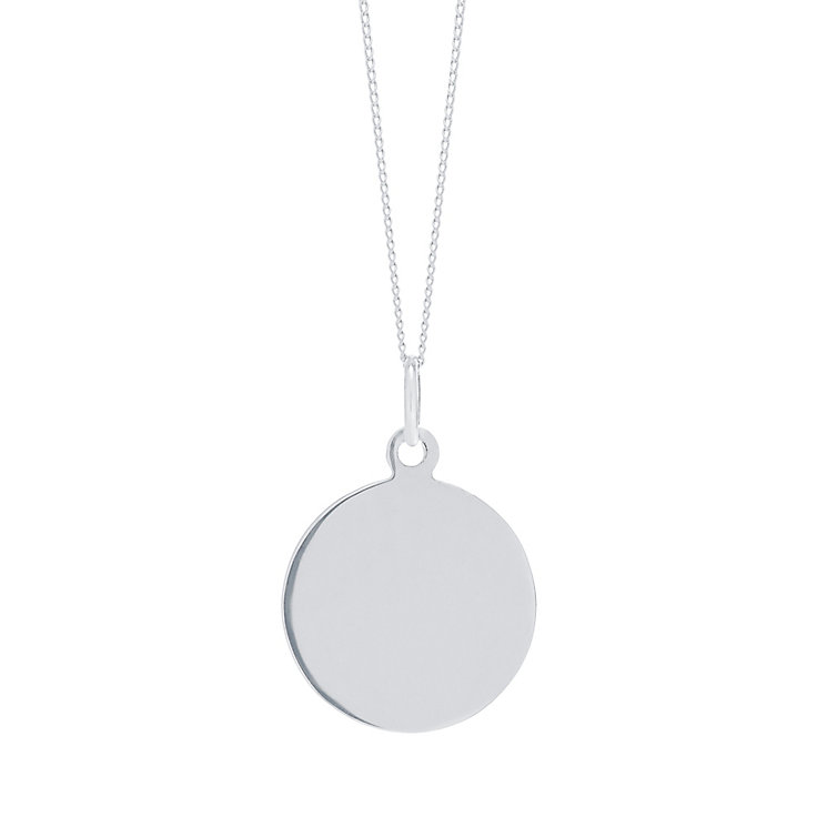 "9ct White Gold Plain Disc Pendant With 18"" Chain - Product number 5029635"