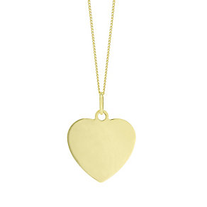 """9ct Gold Plain Heart Pendant With 18"""" Chain - Product number 5029686"""