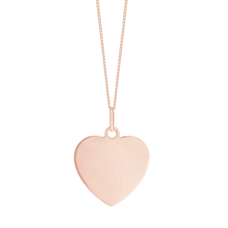 "9ct Rose Gold Plain Heart Pendant With 18"" Chain - Product number 5029694"