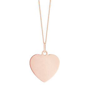 """9ct Rose Gold Plain Heart Pendant With 18"""" Chain - Product number 5029694"""