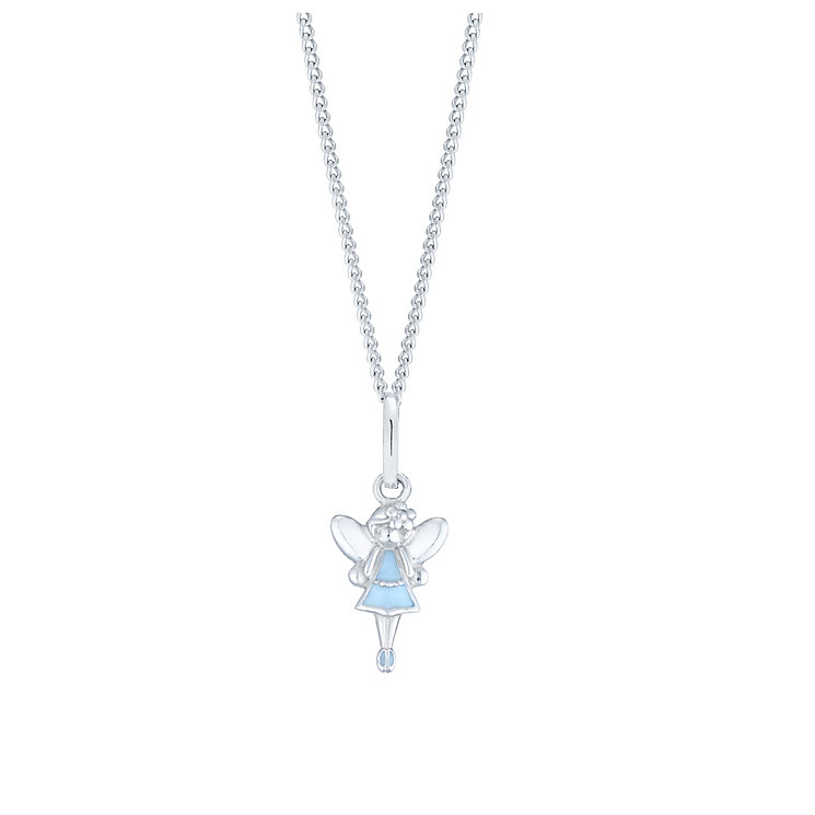 "Children's Silver & Blue Enamel Fairy Dust Pendant 14"" - Product number 5029740"