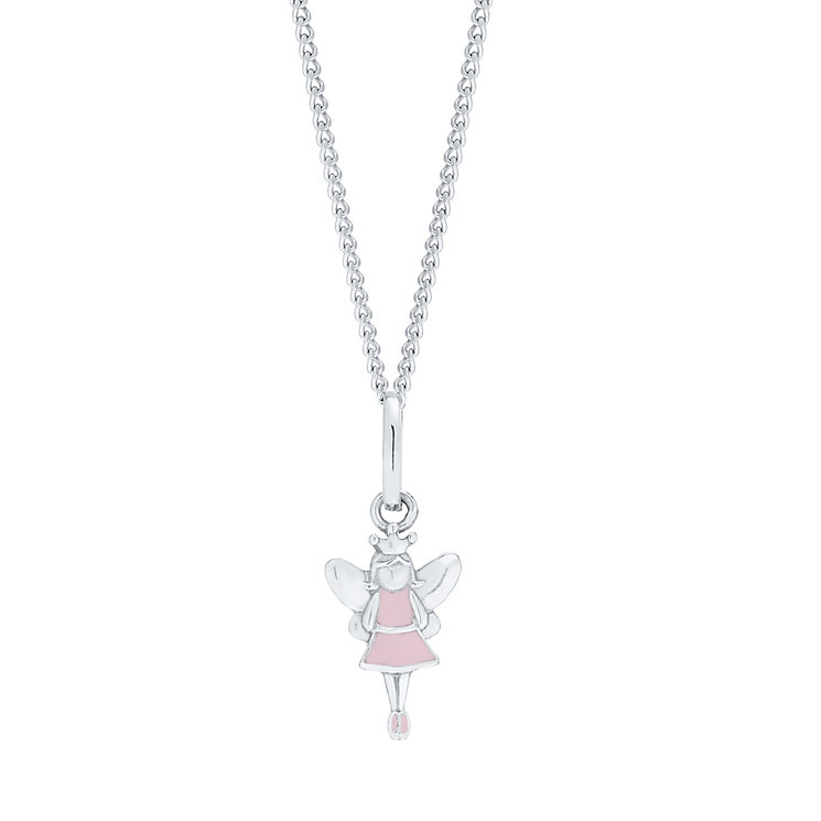 "Children's Silver & Pink Enamel Fairy Dust Pendant 14"" - Product number 5029759"
