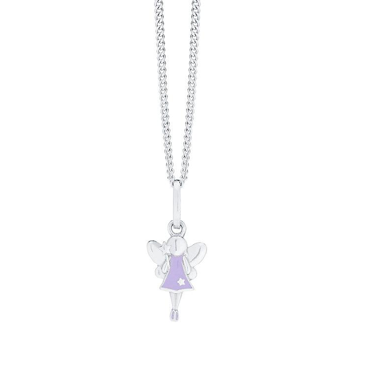 "Children's Silver & Purple Enamel Fairy Dust Pendant 14"" - Product number 5029767"