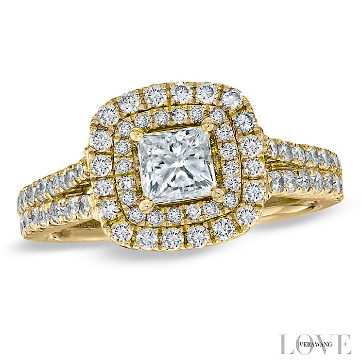 Vera Wang 18ct yellow gold 1.45ct H1/SI2I1 diamond ring - Product number 5037514