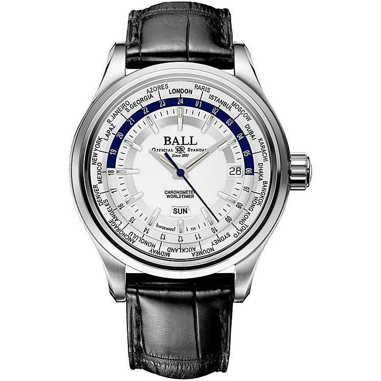 Ball Trainmaster Worldtime Men's Stainless Steel Strap Watch