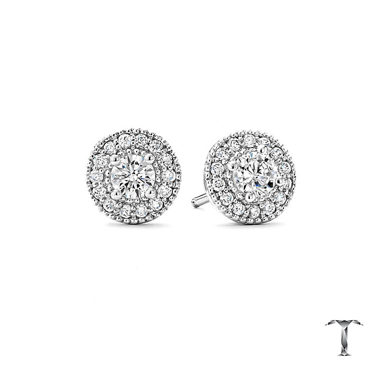 Tolkowsky Platinum 0.50ct I-I1 Diamond Halo Earrings - Product number 5045339