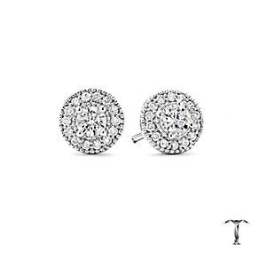 Tolkowsky Platinum 0.50ct I-I1 Diamond Halo Earrings - Product number 5045339