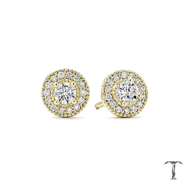 Tolkowsky 18ct Yellow Gold 0.54ct I-I1 Diamond Halo Earrings - Product number 5045347