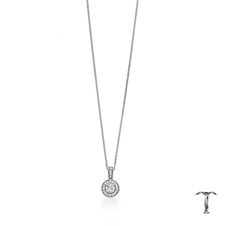Tolkowsky 18ct Platinum 0.50ct I-I1 Diamond Halo Pendant - Product number 5045428