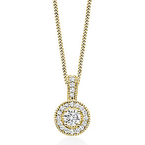 Tolkowsky 18ct Yellow Gold 0.50ct I-I1 Diamond Halo Pendant - Product number 5045436