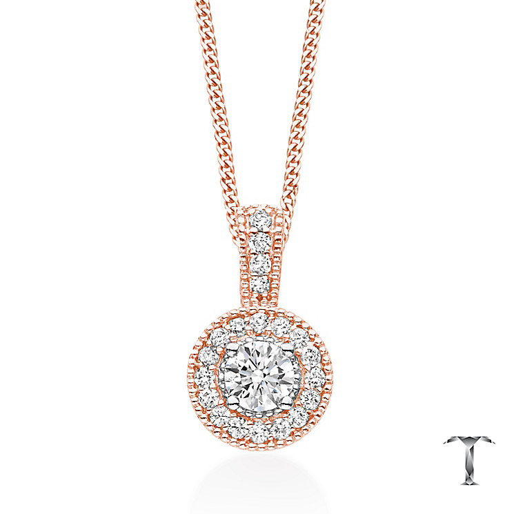 Tolkowsky 18ct Rose Gold 0.50ct I-I1 Diamond Halo Pendant - Product number 5045444