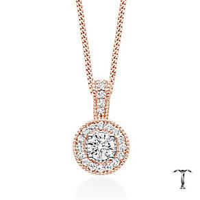 Tolkowsky 18ct Rose Gold 0.50ct I-I1 Diamond Halo Pendant - Product number 5045444