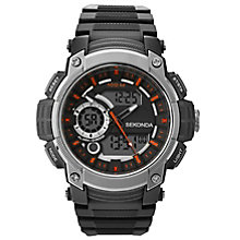 Sekonda Dual Time Grey Dial Black Resin Strap Watch - Product number 5052505