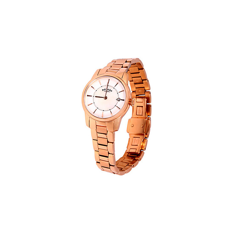 Rotary Ladies' White Dial Rose Gold-Plated Bracelet Watch - Product number 5056977
