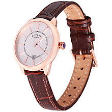 Rotary Ladies' White Dial Brown Leather Strap Watch - Product number 5057256