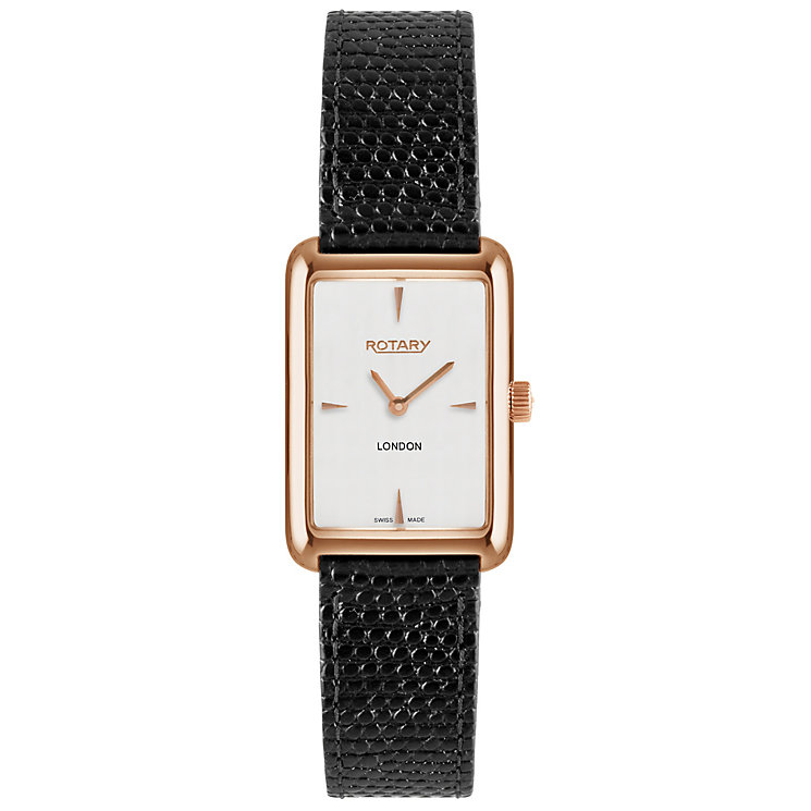 Rotary London Ladies' White Dial Black Leather Strap Watch - Product number 5057337
