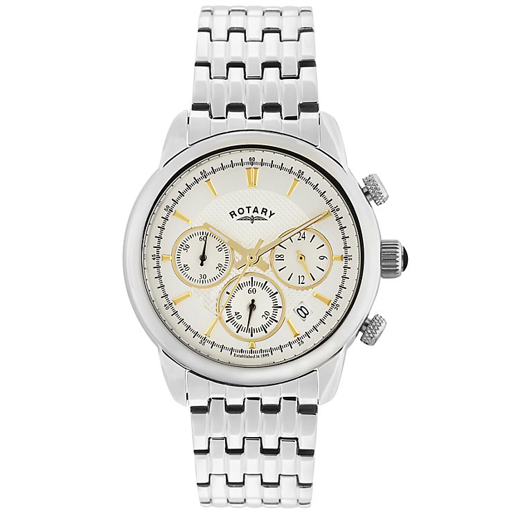 Rotary Men's White Dial Stainless Steel Bracelet Watch - Product number 5057469