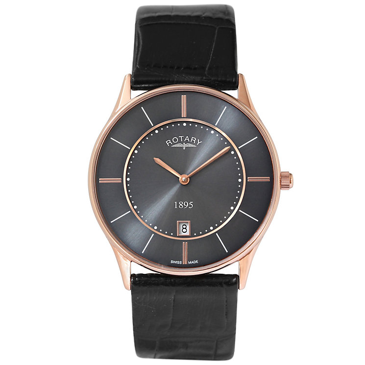 Rotary Men's Grey Dial Black Leather Strap Watch - Product number 5057817