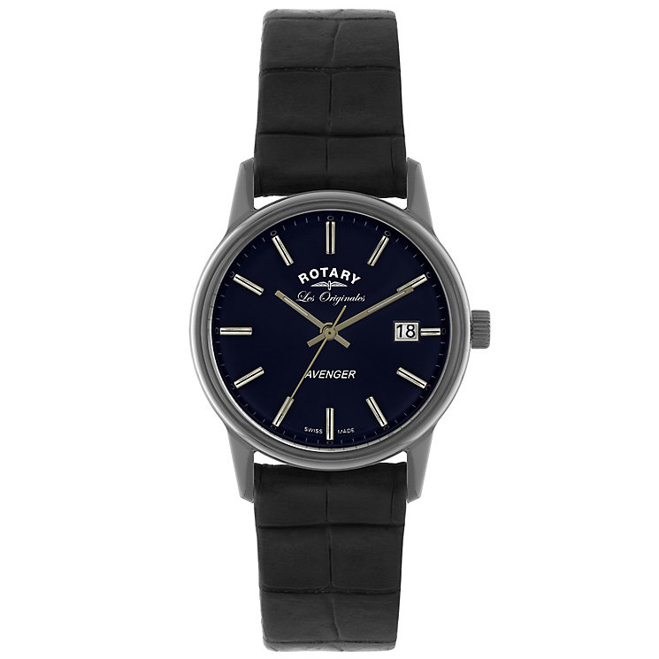 Rotary Avenger Men's Blue Dial Black Leather Strap Watch - Product number 5057876