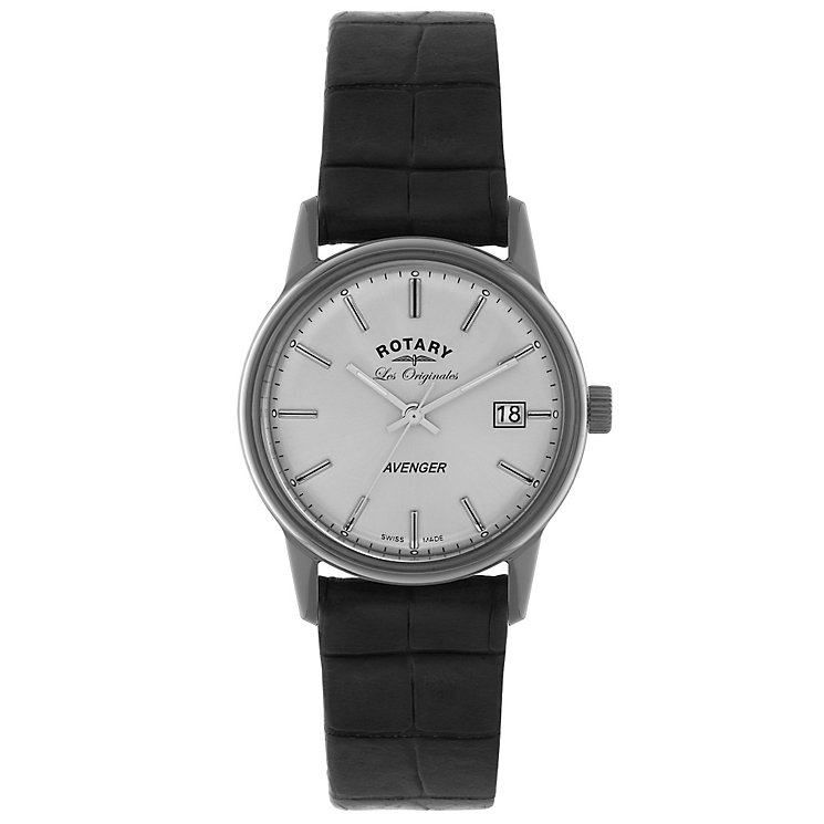 Rotary Avenger Men's White Dial Black Leather Strap Watch - Product number 5057884