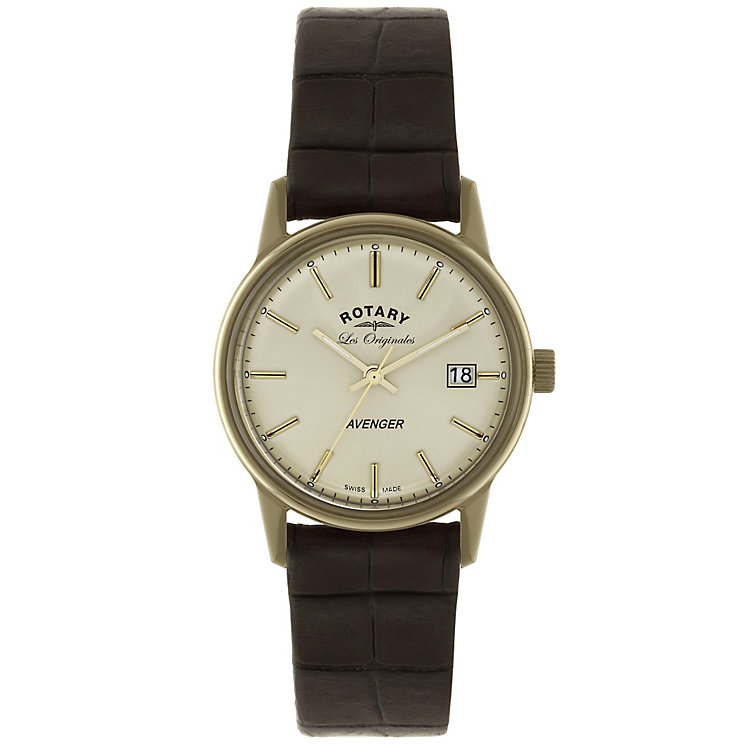Rotary Avenger Men's Cream Dial Brown Leather Strap Watch - Product number 5057892